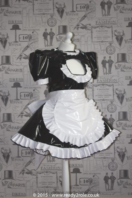 """The """"Vikki More"""" Sissy PVC Maid Dress With Half Apron – Black & White Version – Ask About Colours 1"""