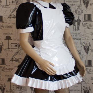 Alice Even More Sissy PVC Maid Dress With Full Apron – Black & White Version – Ask About Colours 1