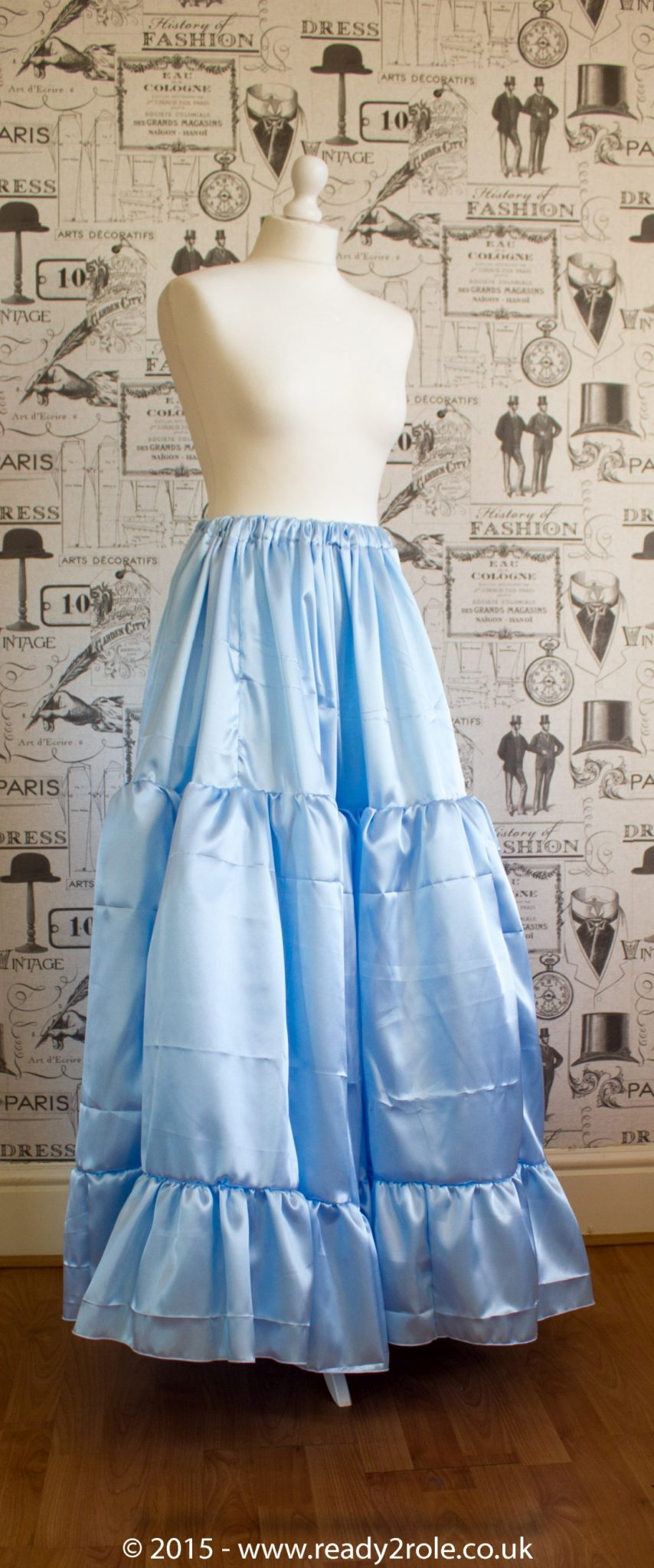 Sissy Frilly Hand Crafted Petticoat – Baby Blue Satin – Longer Length