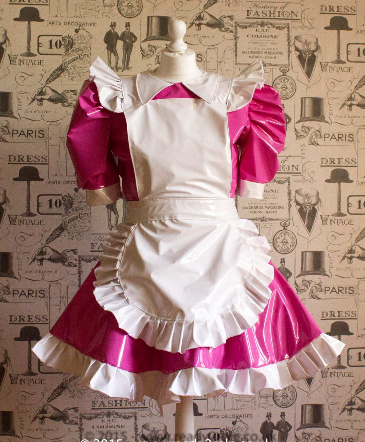 Alice Even More Sissy PVC Maid Dress With Full Apron – Pink & White Version