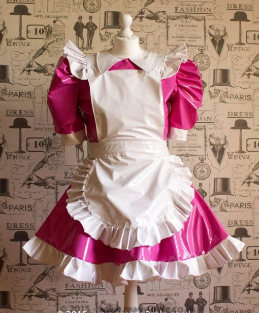 Alice Even More Sissy PVC Maid Dress With Full Apron – Pink & White Version 1