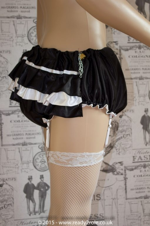 Candy Cupcake Corseted Sissy (Black & White) Satin Dress 5
