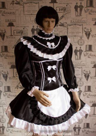 Candy Cupcake Corseted Sissy (Black & White) Satin Dress 1