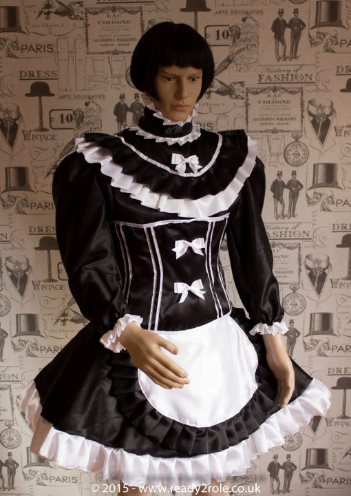 Candy Cupcake Corseted Sissy (Black & White) Satin Dress 1