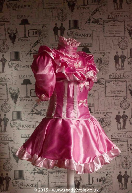 Candy Cupcake Corseted Sissy Satin Dress 2