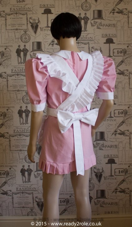 FPJ Full Service Cotton Sissy Maids Dress With Full Apron Pink Version 4