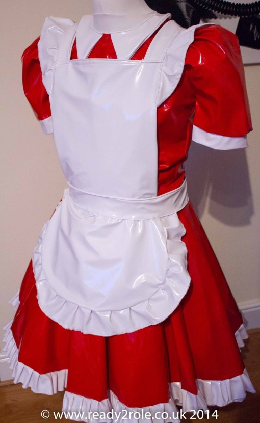 Alice Even More Sissy PVC Maids Dress (Red & White) 3