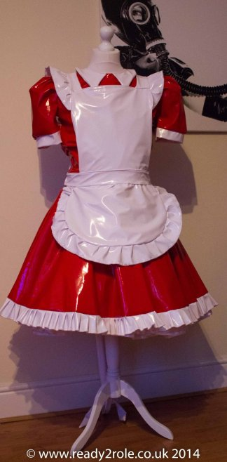 Alice Even More Sissy PVC Maids Dress (Red & White) 1