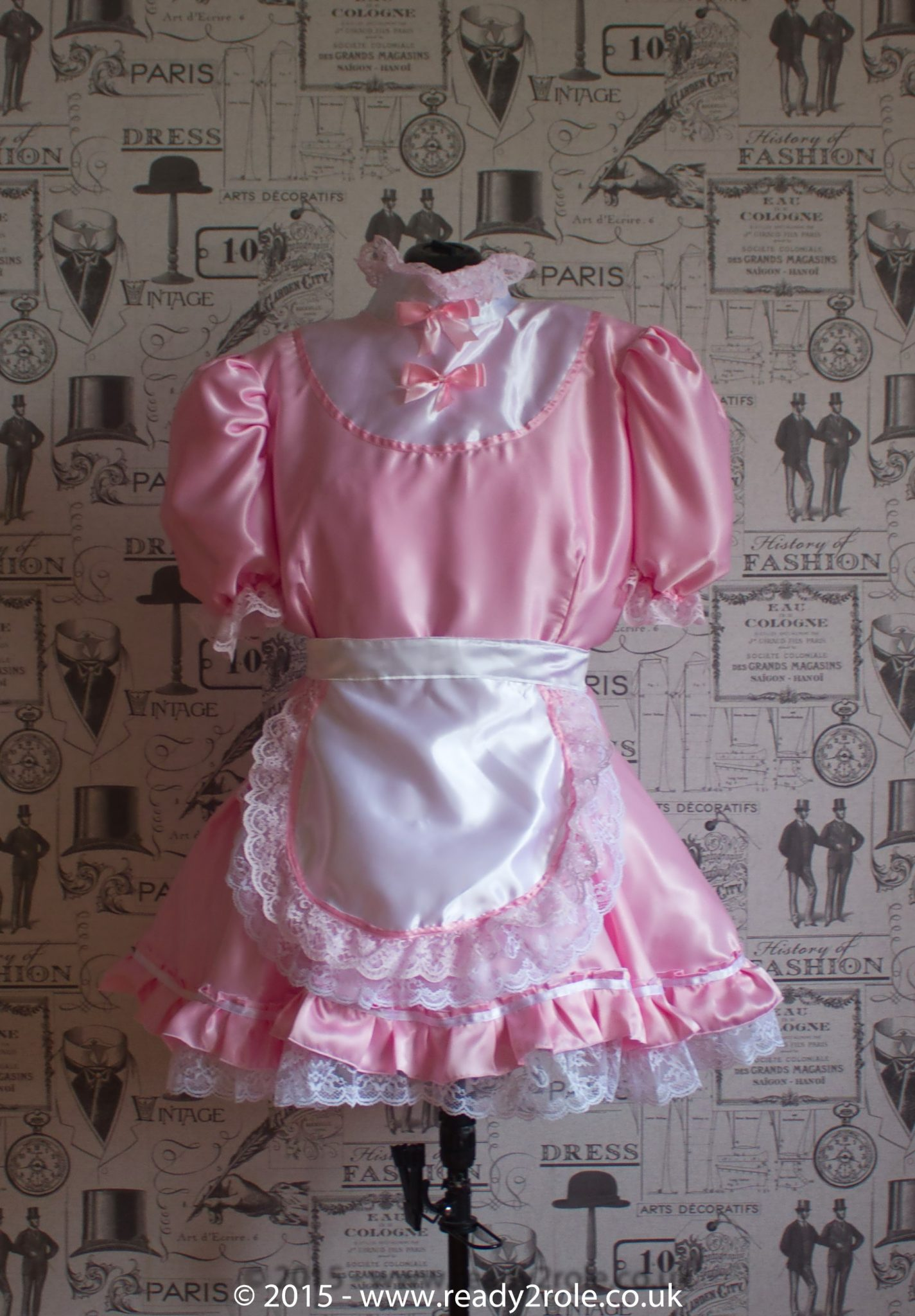"""Starre"" French Maid Sissy Dress in Pink Satin With Removable Half Apron"