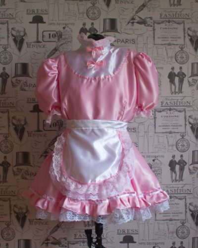 """Starre"" French Maid Sissy Dress in Pink Satin With Removable Half Apron 1"
