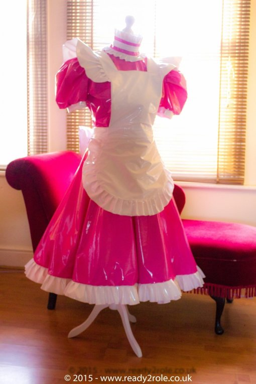 Hi Alice Even More PLUS PVC Sissy Maids Dress With Full Frilly Apron 2