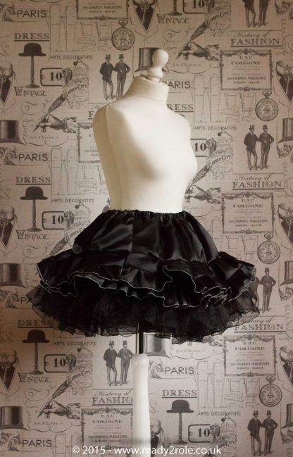 Sissy Frilly Hand Crafted Petticoat (Black) – Above Knee Length 3