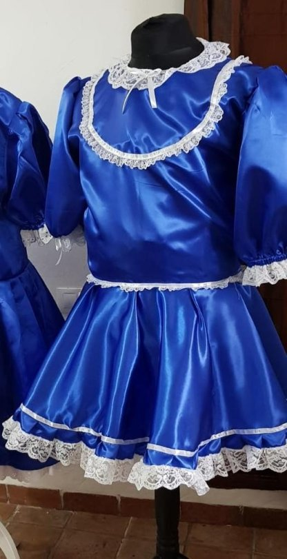 Blue Satin Sissy Dress