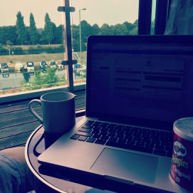 So I got to the hotel, Changed into my pjs as I was roasting. Made a cuppa and sat down to do some blogging. :-) lovely view from our room at @holidayinn #blogging #fromwhereisit #hotel #londonhotel #surbitonhotel #hamptoncourtpalace