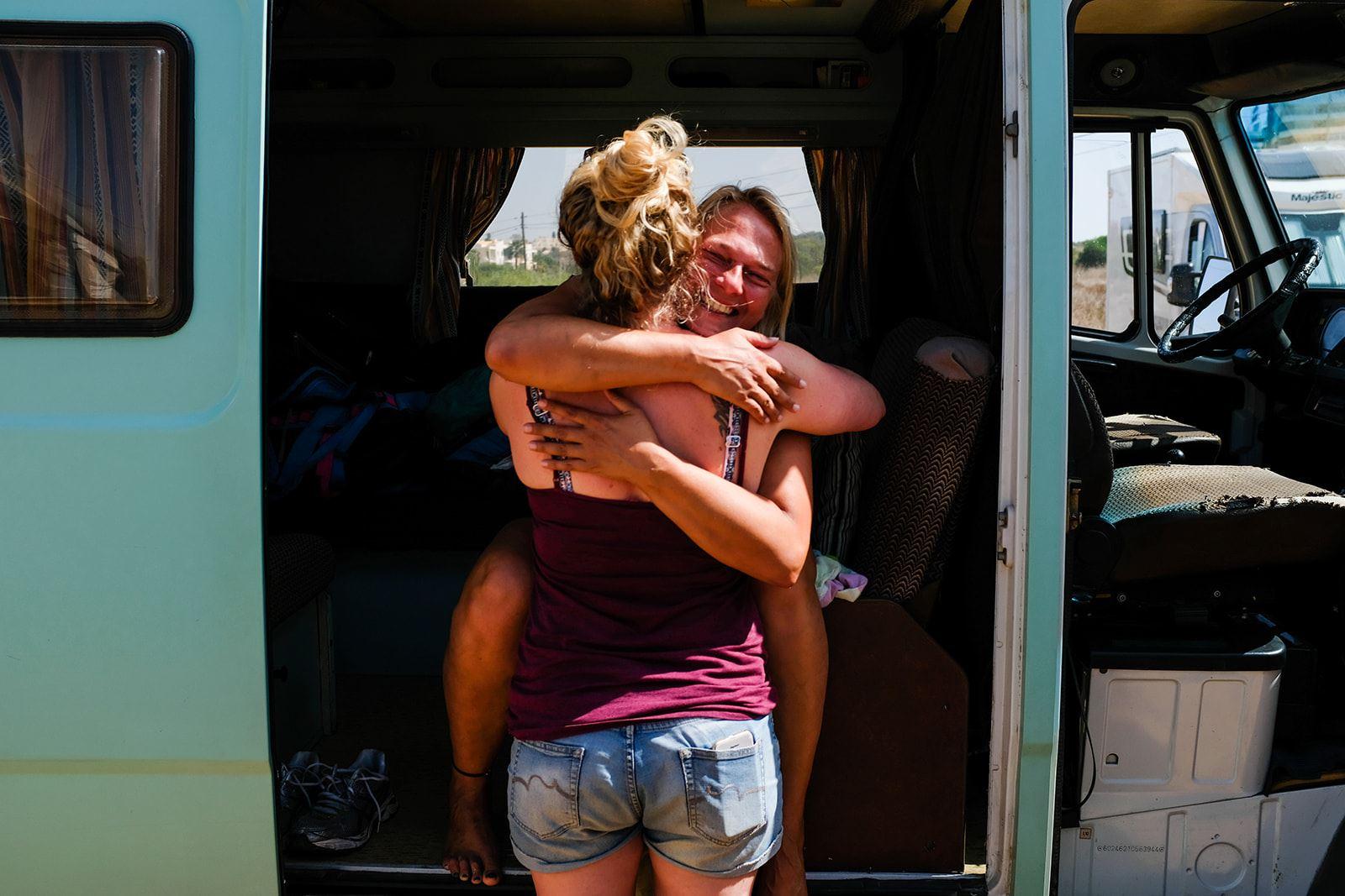 Camper retreat vanlife hug