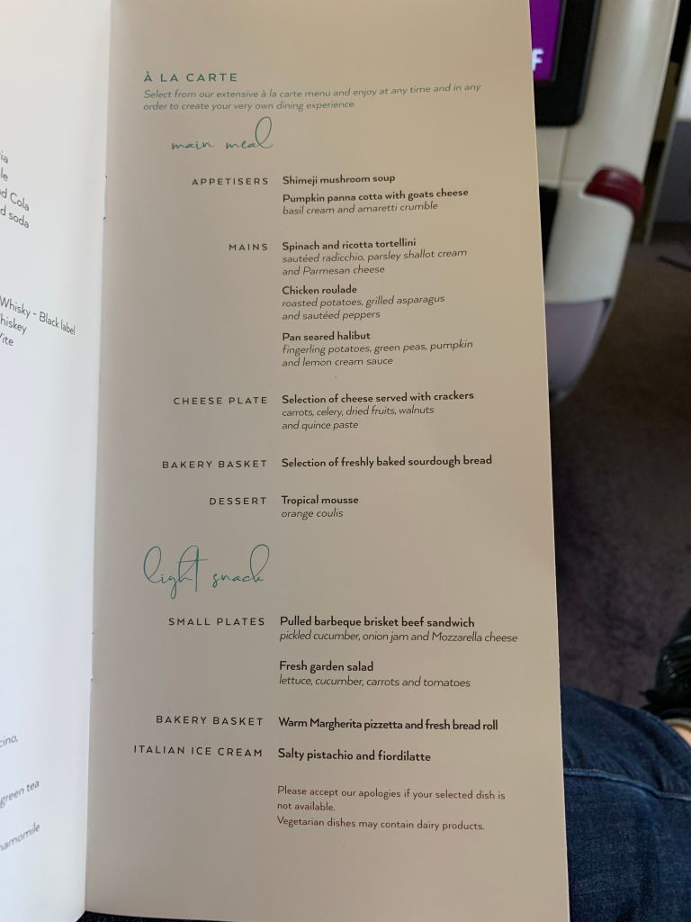 Air Italy Business Class Menu