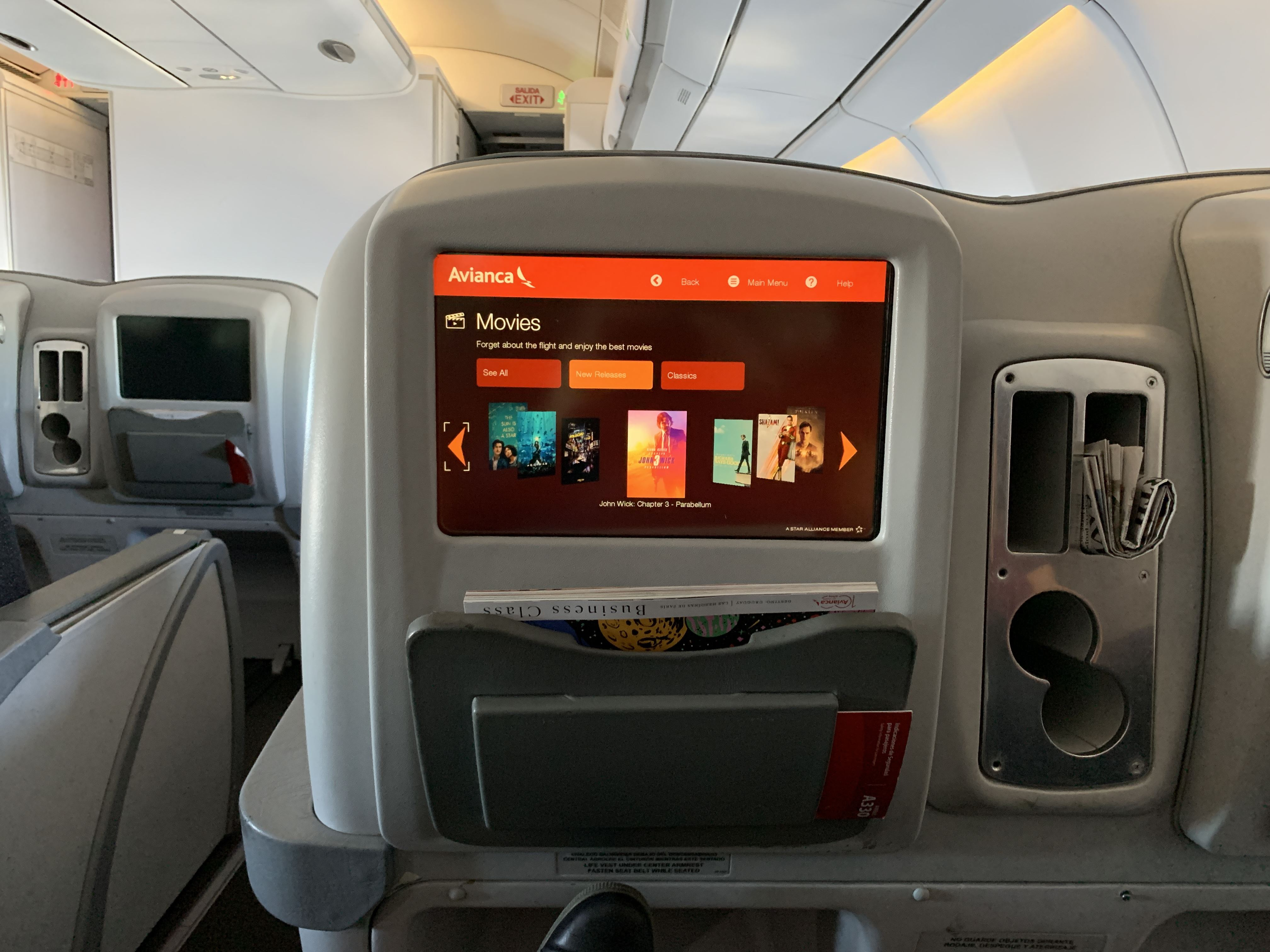 Avianca Business Class A330 Video Control IFE