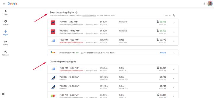 Google Flights Departing Flights