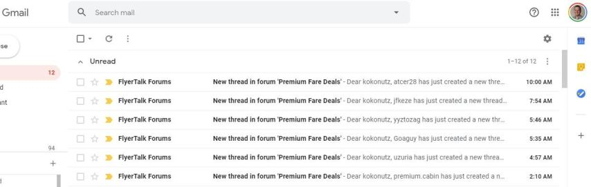 Gmail inbox with cheap business class fares