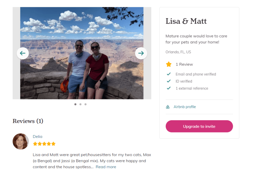 trustedhousesitters profile