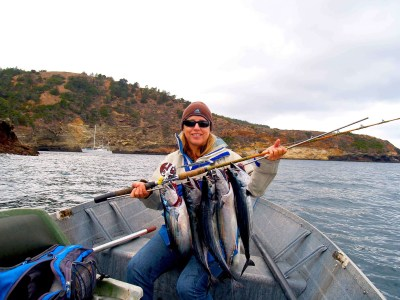 Capt. Bill's wife 'Laura' with a nice stringer of Skipjack tuna (photo: Capt William Simpson)