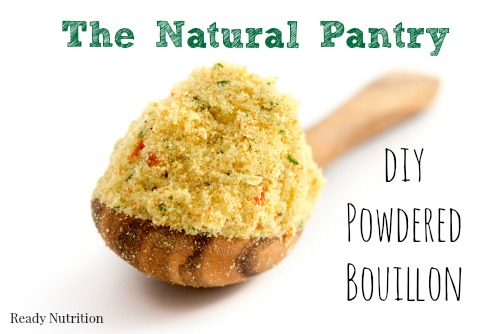 I prefer making my own bouillon powder made from homemade broth and dehydrated vegetables. This is a great all-purpose seasoning to use in my recipes and it's super easy to make. #ReadyNutrition #FoodPantry #DIY
