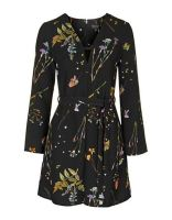 Topshop Botanical Floral Print Belted Dress $95 CAD
