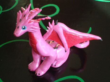Pink Queen dragon, polymer clay, 2014.