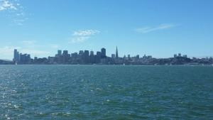 The San Francisco skyline as seen across the Bay from Treasure Island.