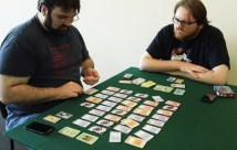 Players rewriting history with a game of Chrononauts.