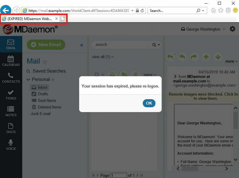 Expired Session notification in MDaemon Webmail
