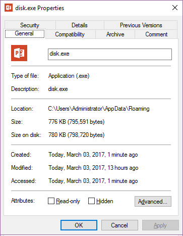 Figure 6. The properties of the downloaded file