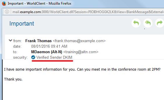 MDaemon Webmail - DKIM-Verified Sender