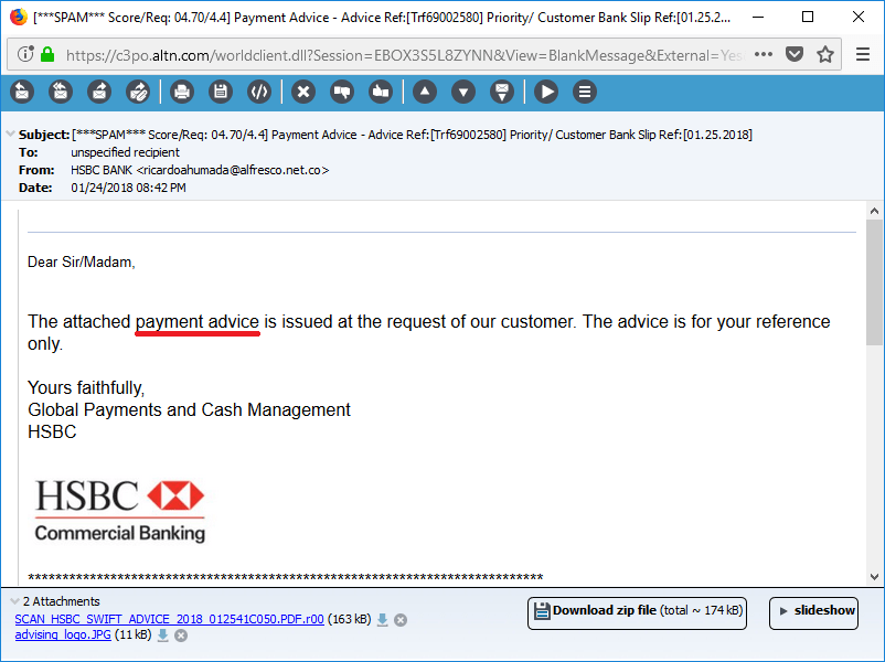 Payment notification phishing email