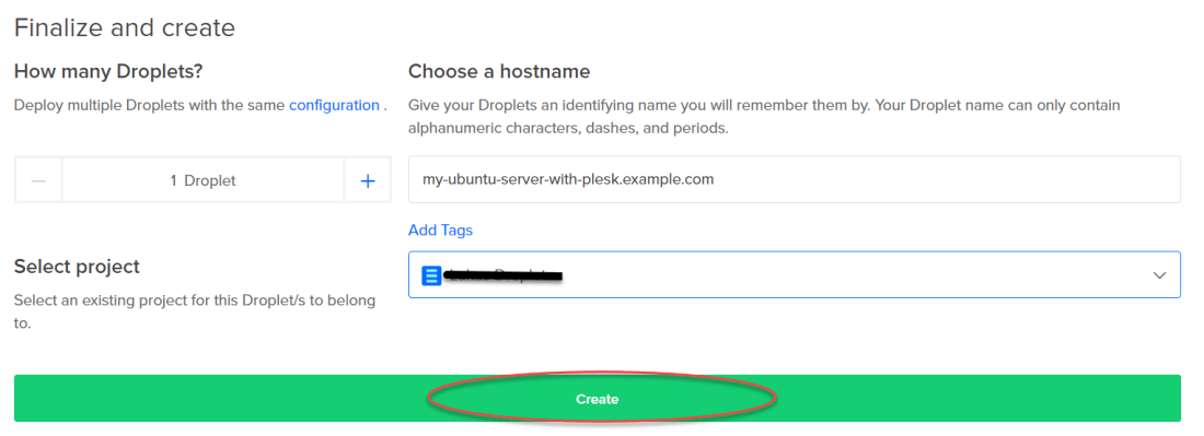 Plesk on DigitalOcean now a one-click app - Finalize and create Droplet