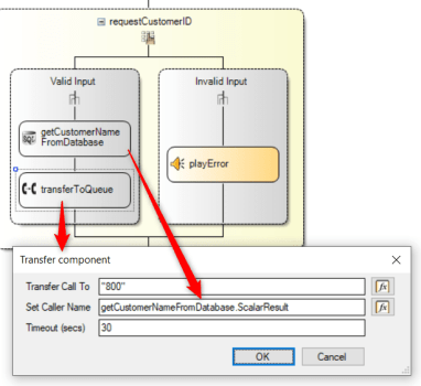 3CX's Call Flow designer will retrieve customer names from the database