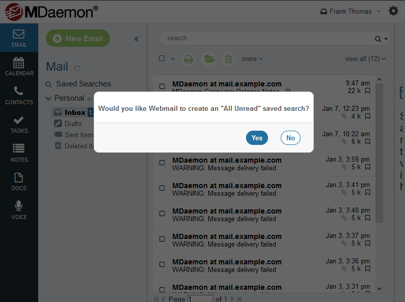 MDaemon Webmail Saved Search - All Unread All Flagged