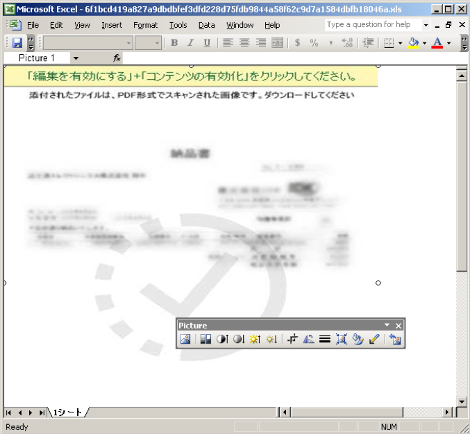 Figure 8. Excel document containing a malicious macro
