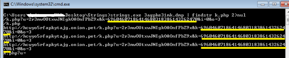 Fig. 16. Searching for the generated URLs using Strings and FINDSTR