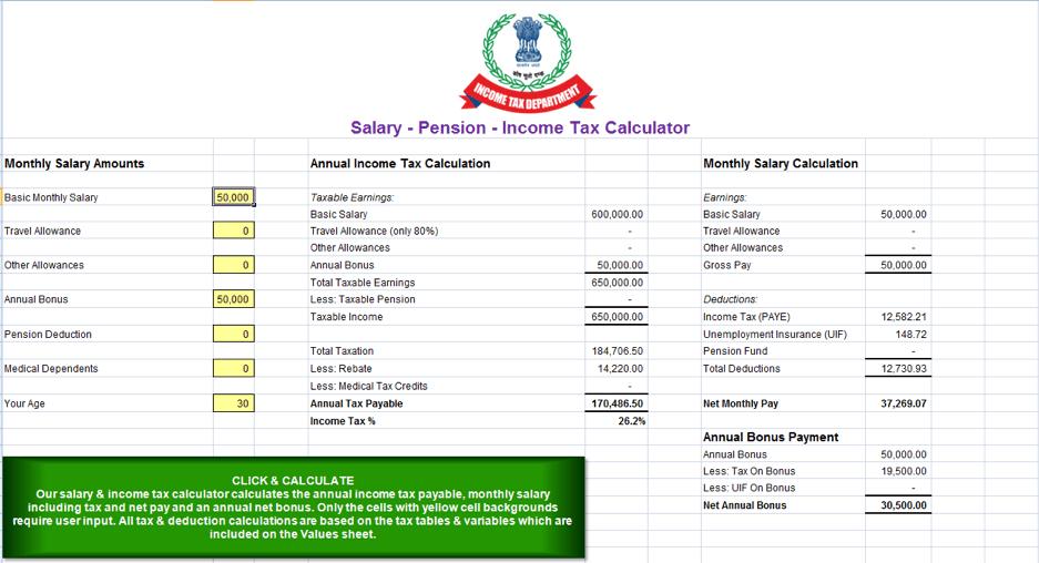Fake Income Tax Calculator