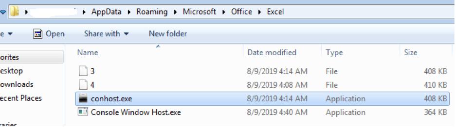 Files Dropped in the %AppData%MicrosoftOfficeExcel Folder