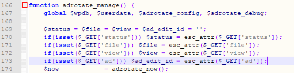 Figure 3: $ad_edit_id is controllable by users.