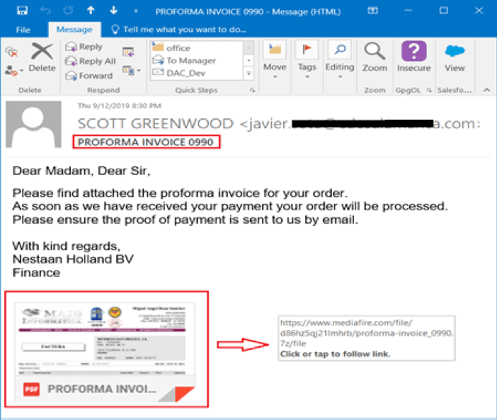 Figure 1. The phishing email containing a picture and the download link