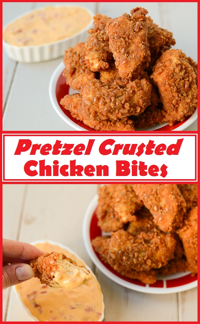Pretzel Crusted Chicken Bites collage