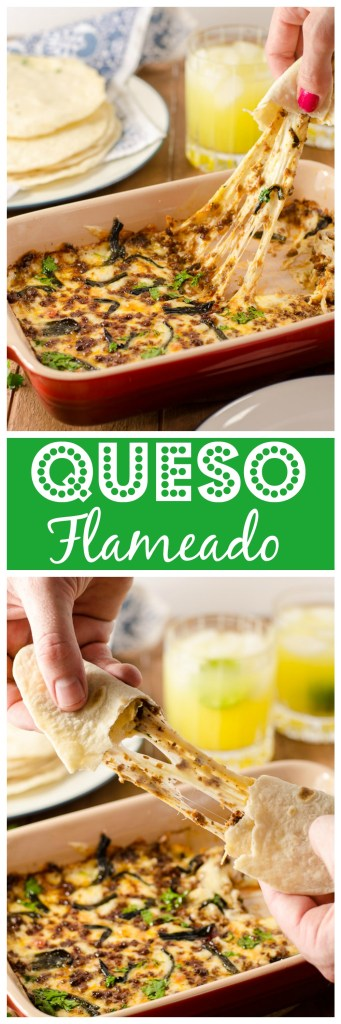 Queso flameado is an incredibly cheesy, just-slight-spicy appetizer of mind-boggling deliciousness. Eat it wrapped in a tortilla with margarita in hand and die happy.