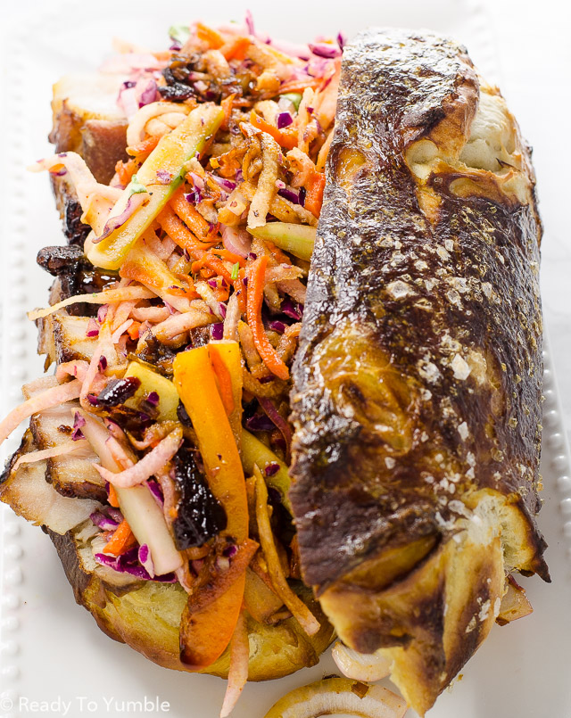 Pretzel Pork Belly Po-Boy pairs the sweet richness of pork belly with the bright flavors of a colorful slaw, in one juicy mouthful!