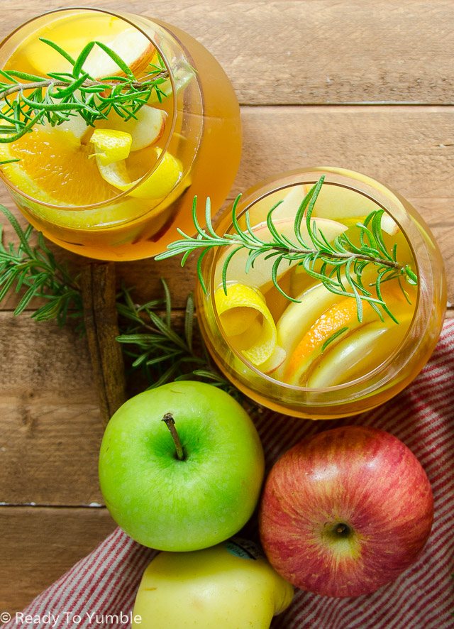 Apple Cider Sangria with Cinnamon Bourbon is the ultimate fall cocktail – easy to make and easy to sip during your favorite fall activities!
