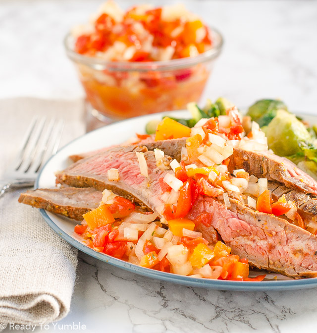 Argentine Grilled Flank Steak with Salsa Criolla - Ready to Yumble