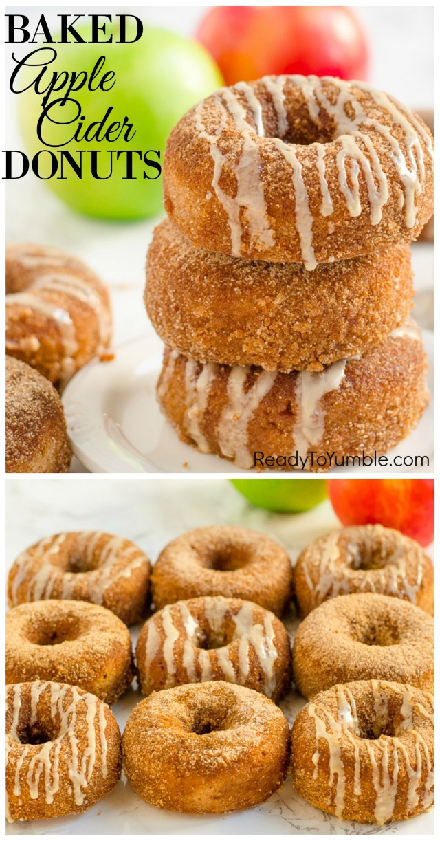 Baked Apple Cider Donuts with Maple Drizzle, full of moist, cinnamon flavor, are a festive addition to your holiday breakfast or dessert table.