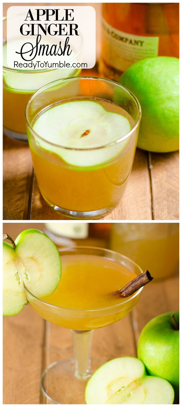 This Apple Ginger Smash is the best cocktail to enjoy on a dark winter night! Slightly spicy with warming applejack, it makes your average evening a little more special.